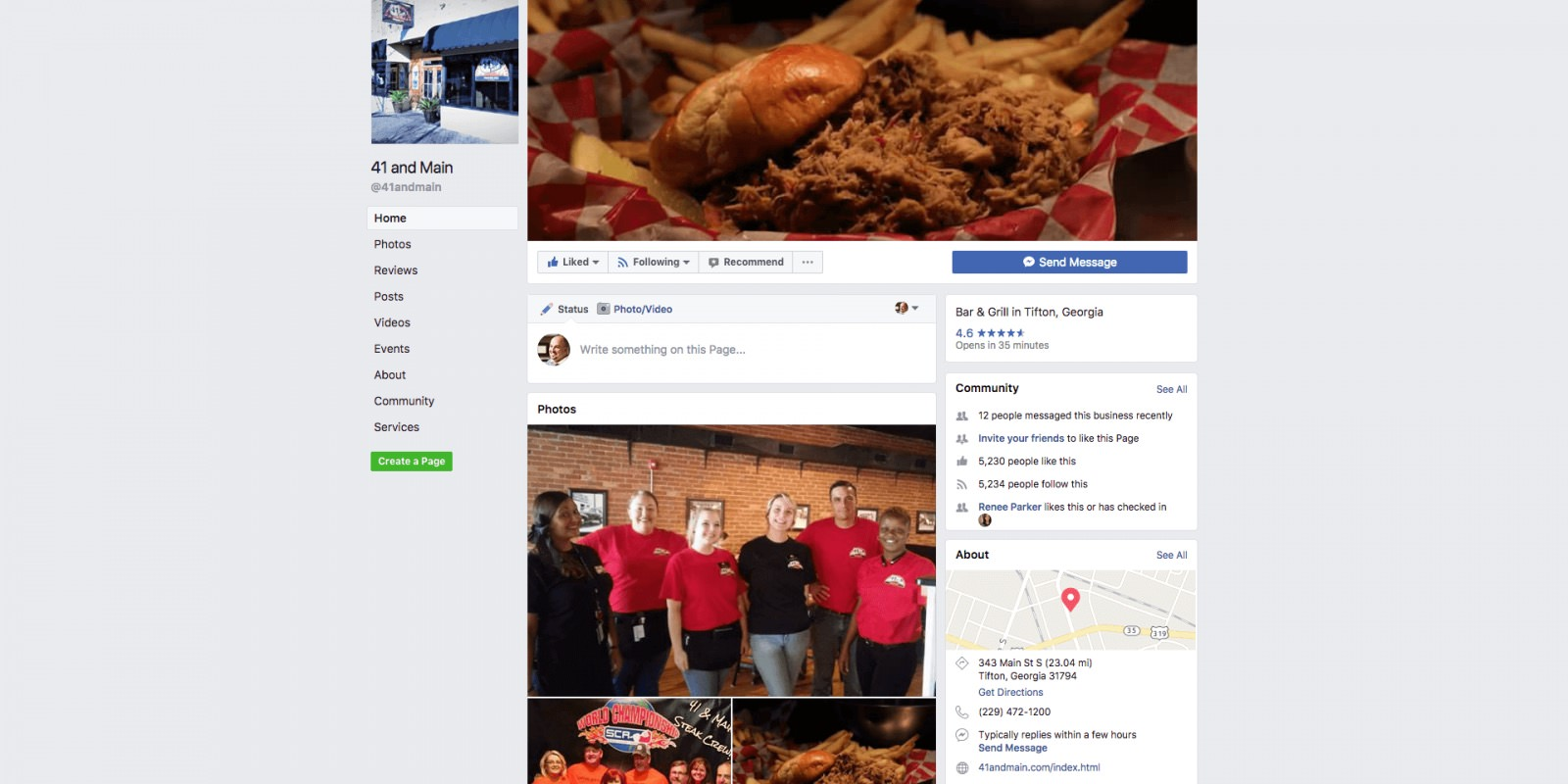 Current Facebook Page For 41 and Main Restaurant in Tifton, GA