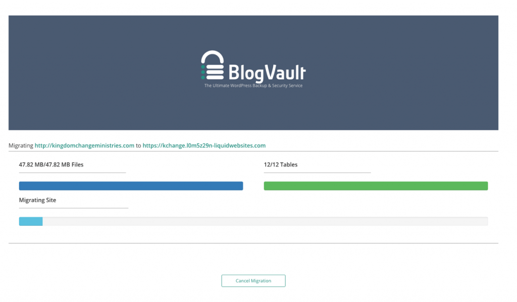 Screenshot of the website migration screen during migration to Liquid Web Managed WordPress hosting