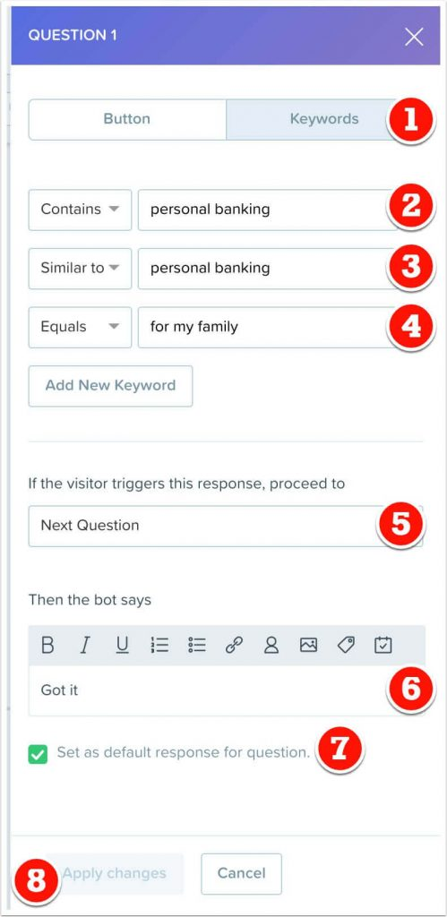 Personal banking keyword response to question 1