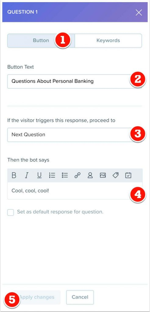 Personal banking button response to question 1