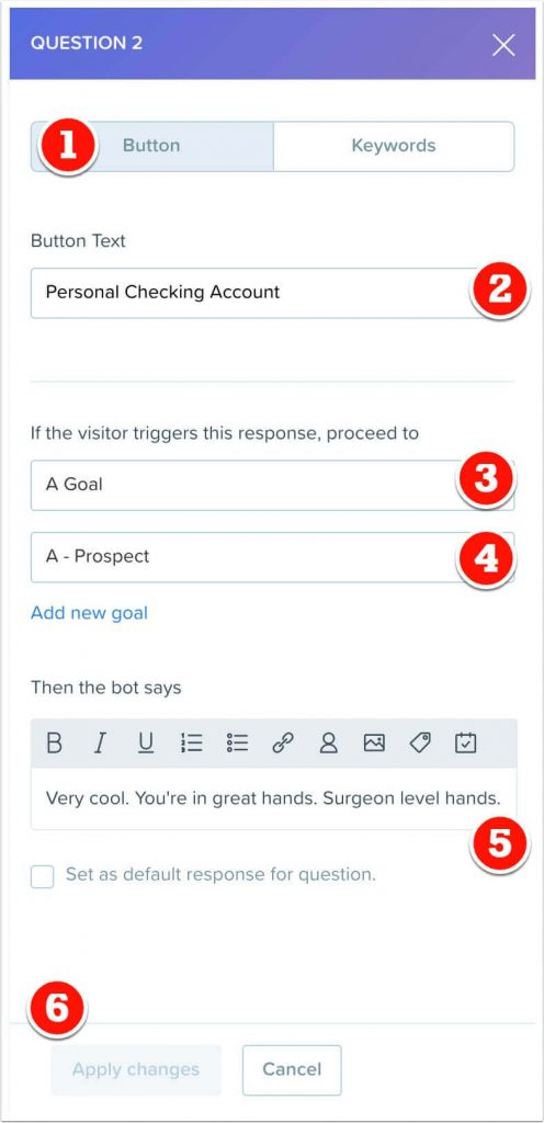 Personal checking button response to question 2.