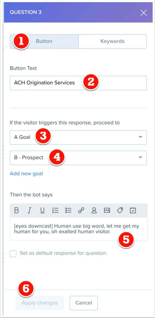 The ACH button response to question 3, which triggers a Drift goal.