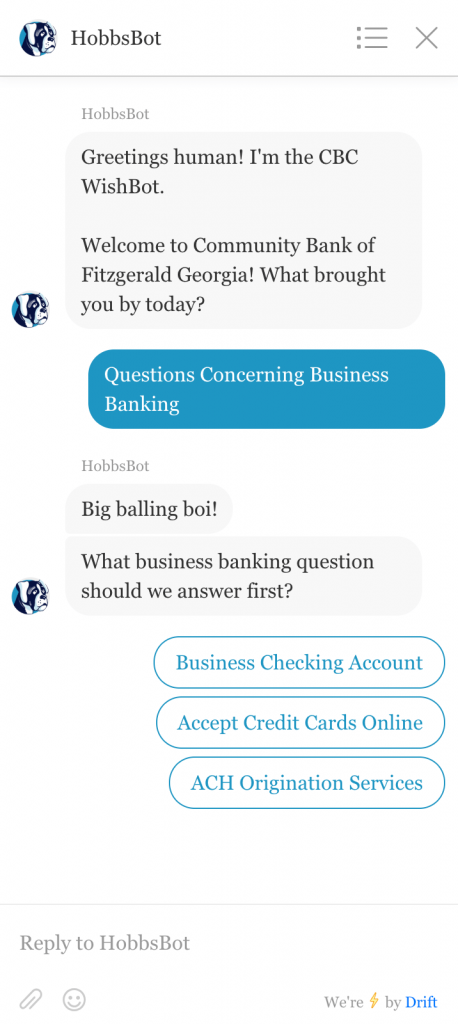 Business banking example of button response to question 1.