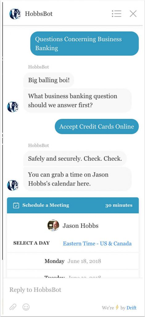 Example showing the choice of accepting credit cards online as the response to question 3.