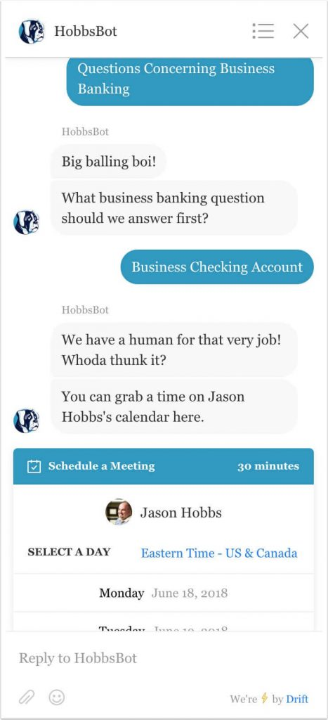 Example showing the choice of business checking reply to question 3.