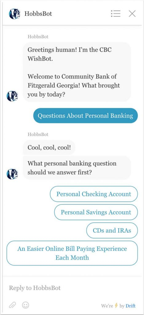 Choosing personal banking button response to question 1.