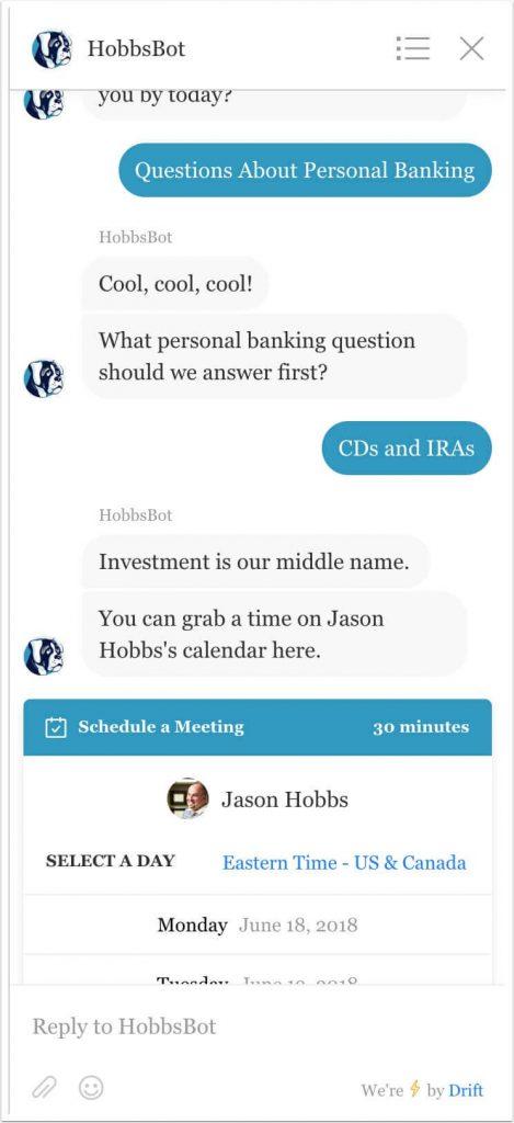 Screenshot example of choosing CDs/IRAs response to question 2, triggering a goal.