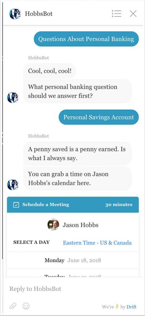 The personal savings response to question 2, which triggers a goal.