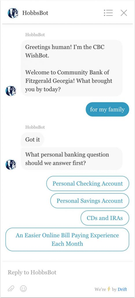 Personal banking example of keyword response to question 1.