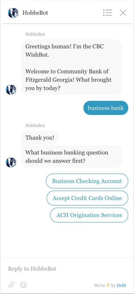 Business banking example of keyword response to question 1.