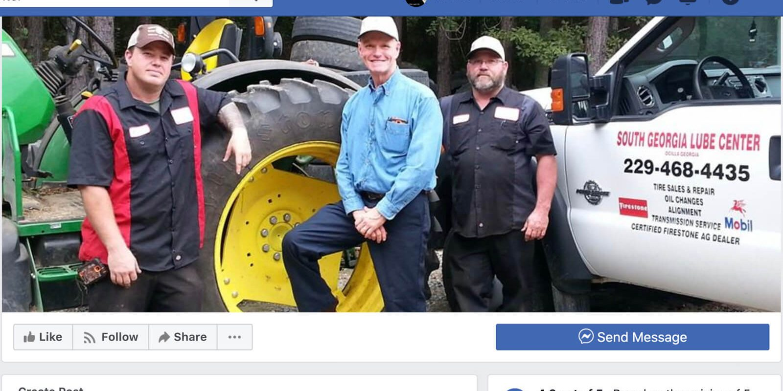 Screenshot of the Facebook Page for South Georgia Lube Center in Fitzgerald and Ocilla, Georgia.