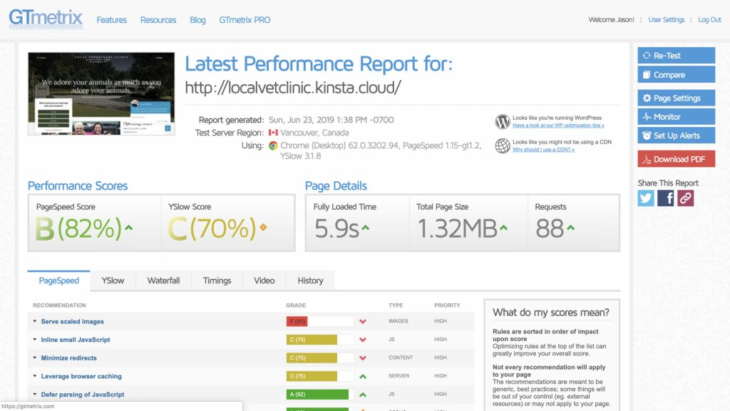 Screenshot of the GTMetrix.com page speed report for an untouched staging site using Kinsta.com's managed WordPress hosting.