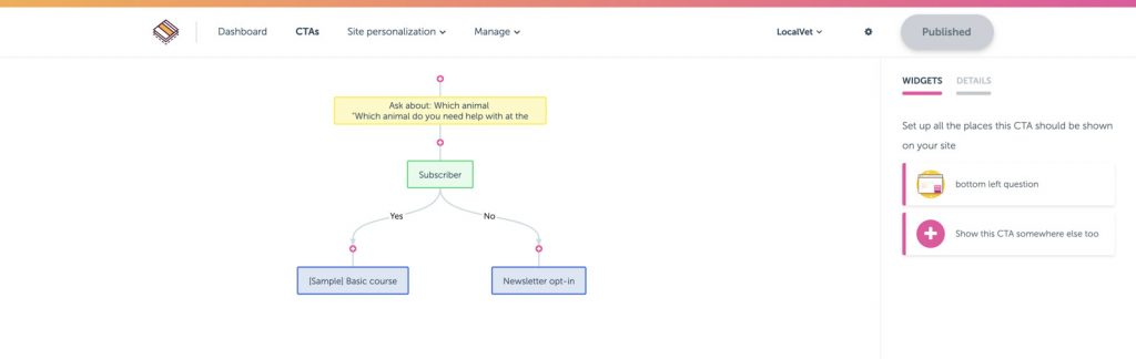 Screenshot of the rightmessage.com example of a CTA (Call-To-Action) flow for visitors