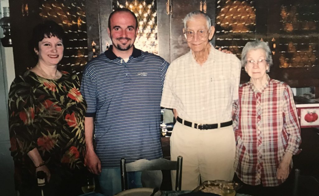 That's me (Jason Hobbs) with my mom to my left, and my paternal grandparents (Ken & Hazel Hobbs), aka Gramps and Grandma to my right at Thanksgiving 2005 in their kitchen.