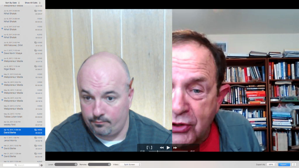 Screenshot of Jason Hobbs (Pictured Left) On A Live Video Client Call